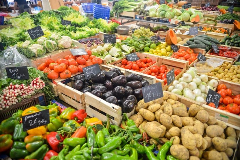 mixed fruit and vegetables at the market