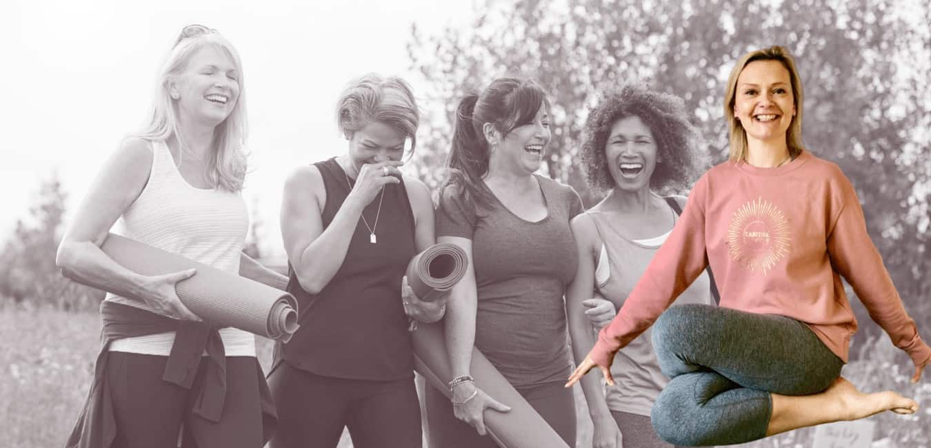 image of a group of women going to a yoga class with Tabitha Yoga