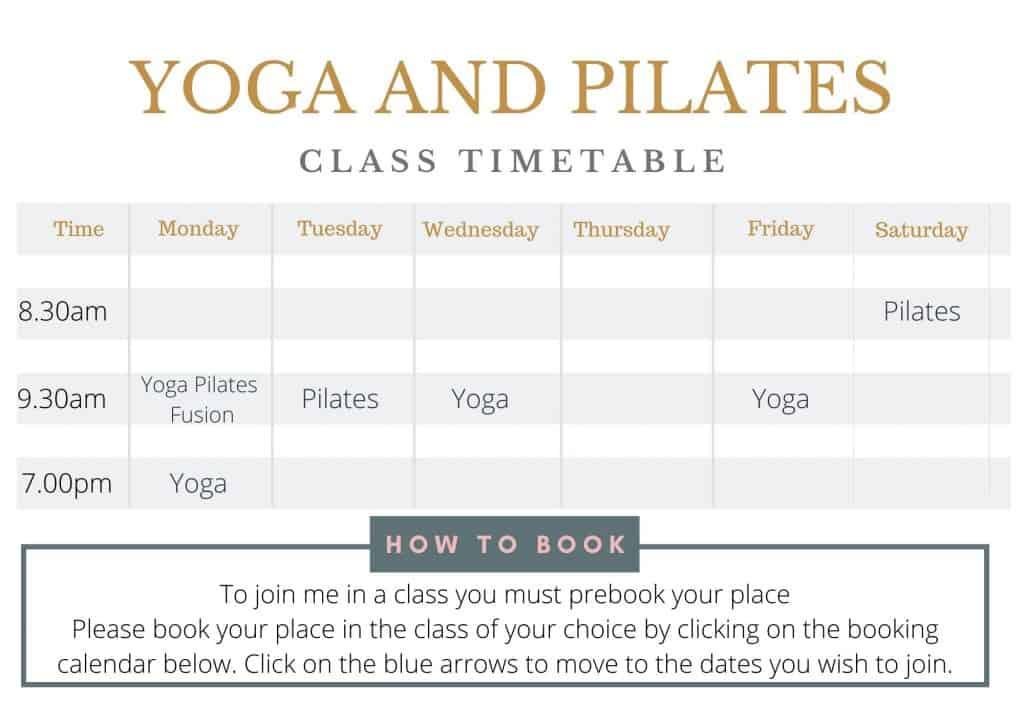 yoga and pilates class timetable tabitha yoga
