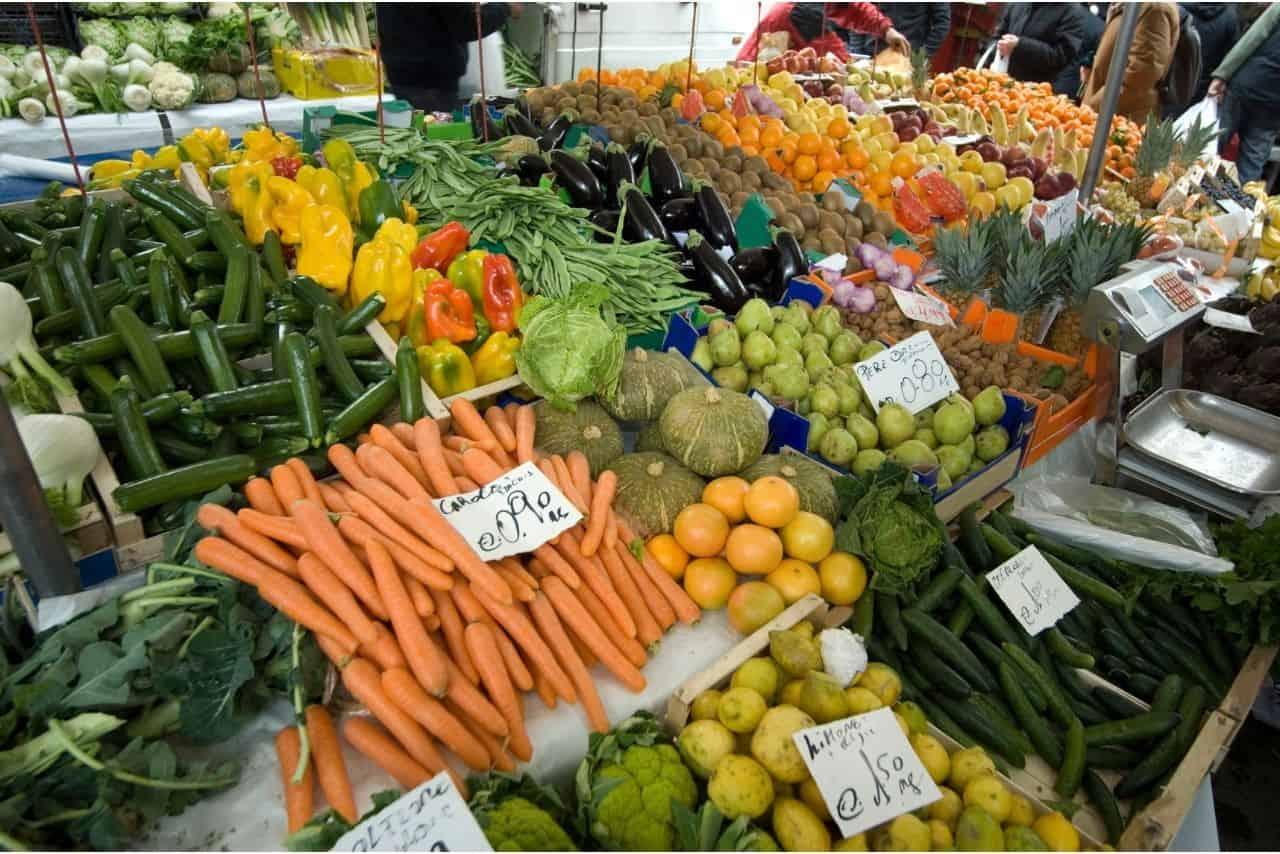 fresh fruit and vegetables market stall