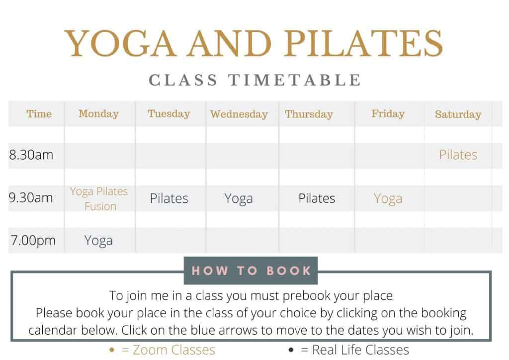Timetable of Yoga and Pilates classes for Tabitha Yoga